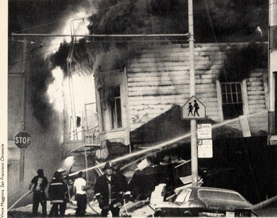 bill and janet ray were still trapped in the other end of their collapsed apartment building at 3701 divisadero when these flames broke out